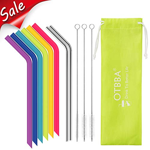 OTBBA Reusable Silicone Drinking Straws for 30 oz Tumbler, 6 BIG Reusable Smoothies Straws for Yeti/Rtic/Ozark Tumbler + 3 Long Brushes + 2 Stainless Steel Straws + 1 Storage Pouch ()
