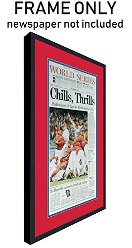 The Philadelphia Inquirer Newspaper Frame - with Philadelphia Phillies Colors Double Mat