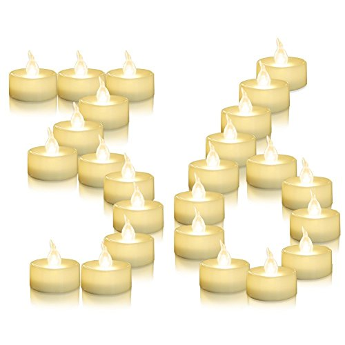 AMAGIC 36 Pack Flameless Battery Operated Tea Lights, Electric Fake Tealight with Warm White Flickering Bulk, LED Candle for Holiday & Home Decoration,Dia 1.4x 1.3, White