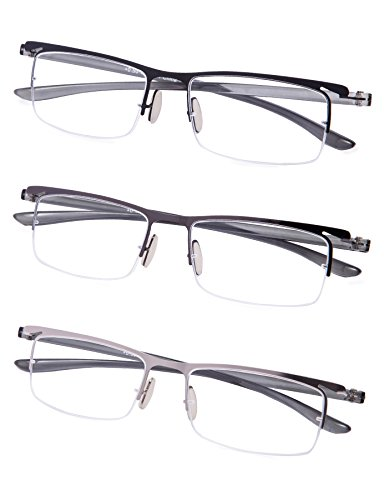 3-Pack Half-rim Reading Glasses with Lightweight Arms