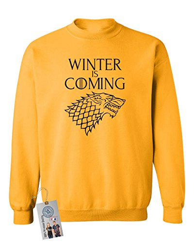 (Games of Throne Winter is Coming Shirt Crewneck Sweatshirt Gold Large)