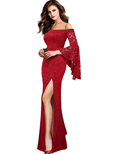 VFSHOW Womens Floral Lace Off Shoulder Ruffle Bell Sleeve Formal Evening Party Maxi Dress 2799 RED XL
