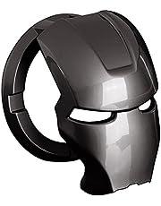 ستيكر لاصق من منتجات ديكور زر السيارة ذات المفتاح الواحد بتصميم ايرون مان، جراب حماية رياضي حلقي عالمي لسويتش السيارة ومفتاح بدء التشغيل (تيتانيوم اسود)