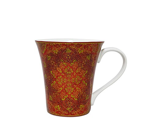 222 Fifth Eva Opulent Red Coffee Mug 16 Ounce Glazed Porcelain China Gold Accent ()