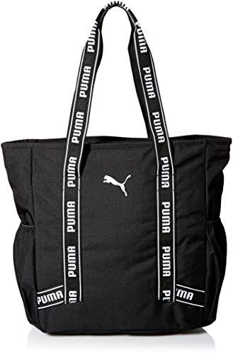 PUMA Women's Commute Tote, black/White, One Size (Handbag Puma White)