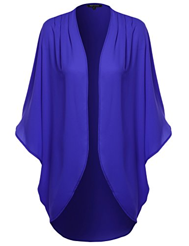 Made by Emma Solid Short Sleeve Open-Front Kimono Style Cardigan Royal Blue M
