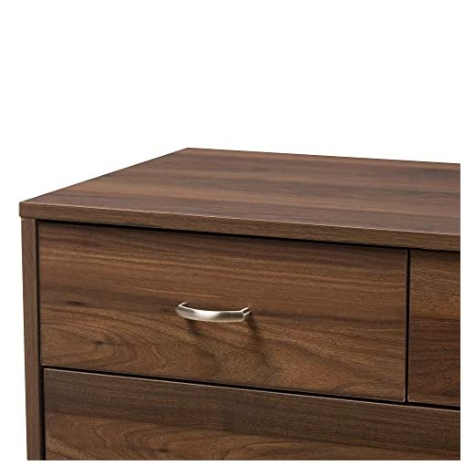 Bedroom Baxton Studio DISA Mid-Century Modern Walnut Brown Finished Wood 5-Drawer Chest/Mid-Century/Brown/Medium Wood/Particle…