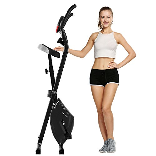 Ancheer Magnetic Upright Exercise Bike with Hand Pulse Sensors/LCD Screen