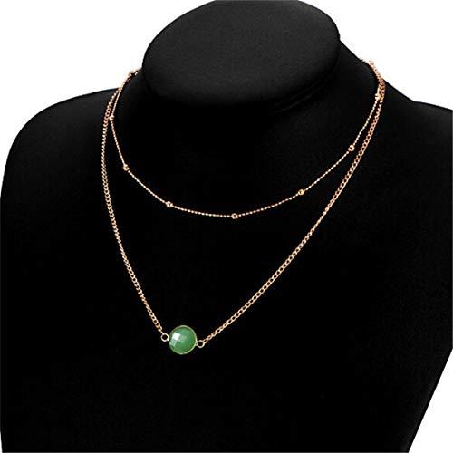 RUJFISH Women Crystal Stone Pendant Necklace Crystal Choker Double Layer Choker Round Stone Teardrop Jewelry for Women