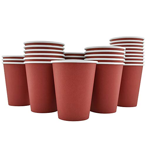 (200 Pack - 12 Oz [8, 16] Disposable Hot Paper Coffee Cups - Cranberry Red (Cups Only))