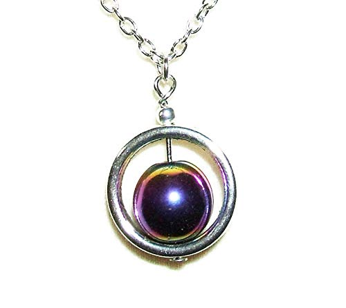 - RAINBOW HEMATITE STONE Spinner NECKLACE Silver Plt GENUINE SEMI PRECIOUS GEMSTONE Metaphysical CALMING REMOVES NEGATIVITY