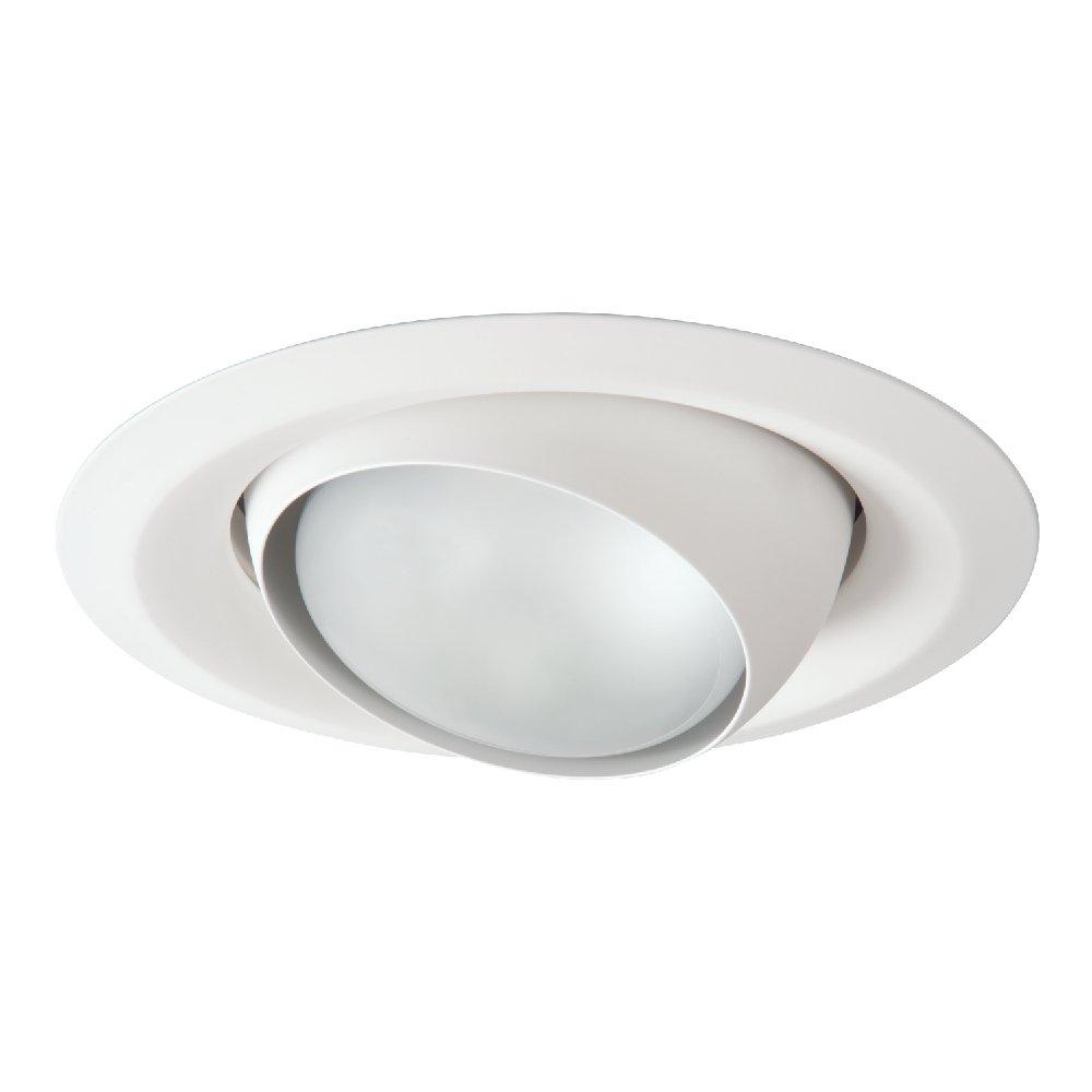 HALO 6130WH 6'' White Adjustable Eyeball, Self Flanged Recessed Trim, White