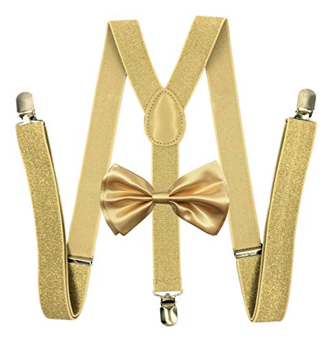 4everstore Unisex's Bow Tie & Suspender Sets (Champagne Gold)