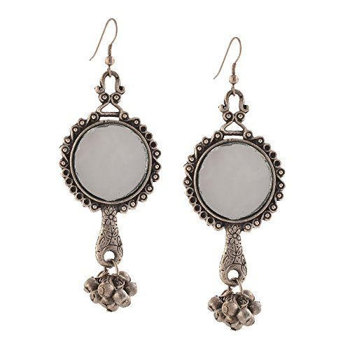 Zephyrr Fashion Oxidized Silver Ethnic Dangler Hook Earrings with Mirrors