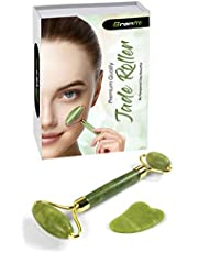 Best Jade Roller & Gua Sha Scrapping Tool Set by BRANFIT - Ultimate Skin Care Solution for Anti-Aging & Anti-Wrinkle - 100% Natural Jade Stone Face Roller is also Perfect as Neck & Puffy Eyes Massager