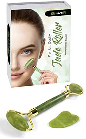 Branfit Jade Roller & Gua Sha Scrapping Tool Set - Ultimate Skin Care Solution for Anti-Aging & Anti-Wrinkle - 100% Natural Jade Stone Face Roller is also Perfect as Neck & Puffy Eyes Massager