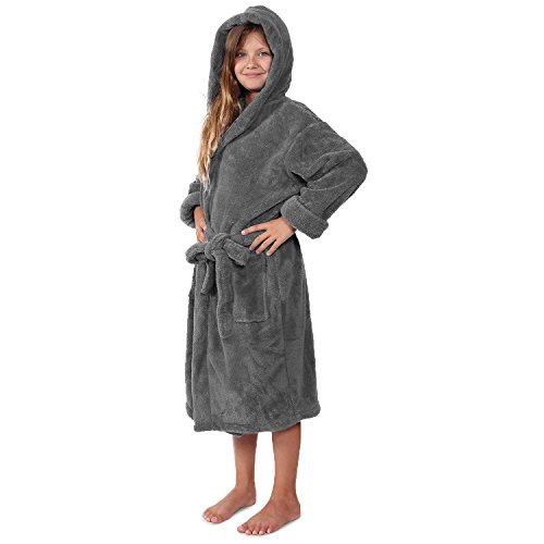 - Indulge Plush Hooded Robe for Kids, Soft Fleece Bathrobe for Girls ans Boys, Made in Turkey (Large, Gray)