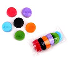 EQREF® 12 PCS Creative Silicone Bottle Cap Beer or Wine Savers Colorful Silicone Rubber Bottle Cap