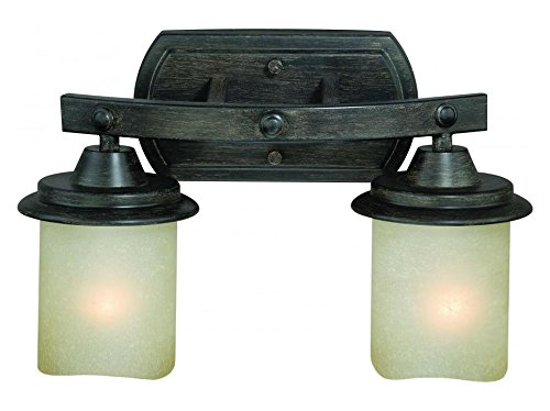 Black Walnut Halifax 2 Light Wall Sconce with Cylinder Shaped Frosted Glass ()