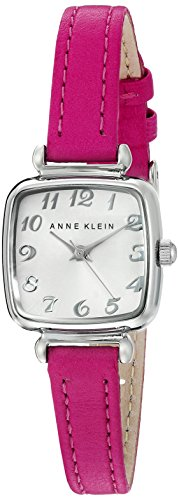 Anne Klein Women's AK/2385SVPK Easy To Read Silver-Tone and Pink Leather Strap Watch