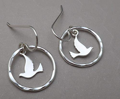 (Lightweight .925 Flying Dove Bird charm Hammered Hoop Earrings Argentium Sterling)