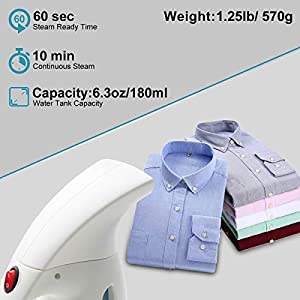 DIKI Clothes Steamer Handheld Garment Steamer for Clothes, Auto-off, 180ML Portable Fabric Hand Steamer for Ironing Wrinkles Remover for Travel, Home and Office, White, Fast Heat-up