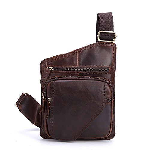 Carry Cycling Sports on Tourism Leather Aihifly Crossbody Chocolate color Messenger Genuine Shoulder Bags Portable Backpack Bag Men Chest Chocolate S4vZqS