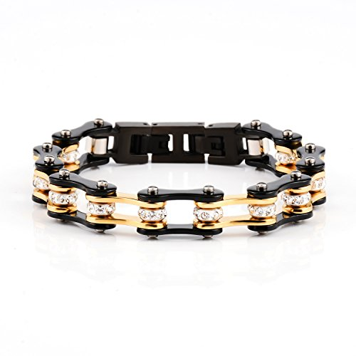 Morenitor[TM] Bike Bracelet Stainless Steel Motorcycle Biker Chain Link Bracelets with Rhinestones. (Chain Steel Bicycle)