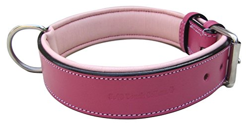 Soft Touch Collars Raspberry Pink Leather Padded Dog Collar, for Large Female Dogs, Made with Genuine Real Leather, Quality Collar That is Stylish, Soft, Strong and Comfortable,24'' Long x 1.5'' Wide by Soft Touch Collars (Image #1)