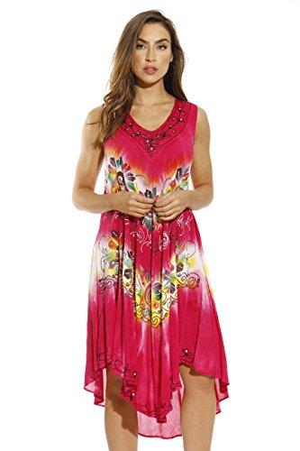 (Riviera Sun Summer Dress,Red Hot Floral,2X )