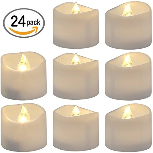 Realistic and Bright Flickering Bulb Battery Operated Flameless LED Tea Lights Candles for Seasonal & Festival Celebration, Electric Fake Candles in Warm White and Wave Open, Set of 24