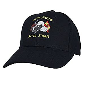 Eagle Crest Naval Station Rota Spain Baseball Cap Hat. Black. Made in USA