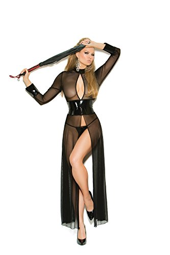 Elegant Moments Robes (Elegant Moments Women's Mesh and Vinyl Long Sleeve Gown with Adjustable Hook, Black, Medium)