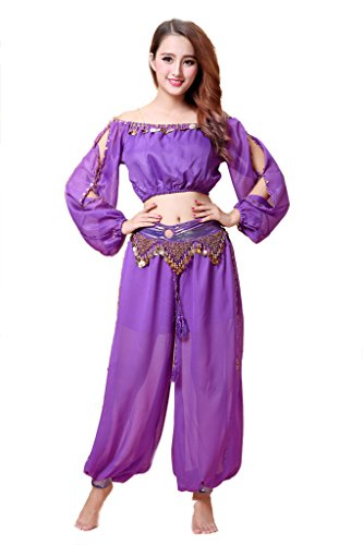 [ZLTdream Belly Dance Chiffon Long Sleeves Top and Lantern Coins Pants Purple] (Purple Belly Dance Costume)