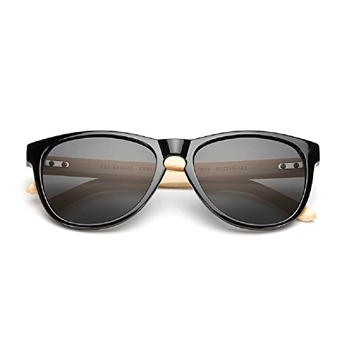 Weidan classic bamboo arm polarized sunglasses men and women retro Walker goggles 503 (Bright black frame / gray lens, - Anteojos Para De Mujer 2017 Sol