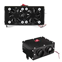 Car Heater Fan, Car Quickly Defrosts Car Defogger Heating Cooling Fan, Auto Ceramic Heater Windshield Defroster That Plugs Into Cigarette Lighter 12V 400W (BLACK)