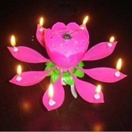 ANKEE R Blooming Lotus Candle Birthday Candles Musical Rotating Rose Red Amazoncouk Kitchen Home
