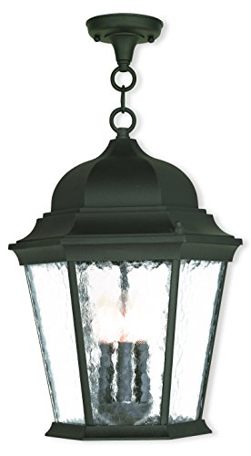 Livex Lighting 75475-14 Textured Black Outdoor Semi-Flush Mount with Clear Water Glass