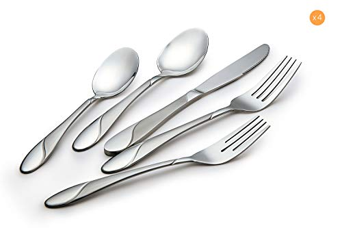 Toyo Hofu Classic Stainless Steel Dining Flatware Set For 4, 20 Piece Dinner Silverware Set, Dishwasher Safe,Rust Free (For With Antique Sale Mirror Buffet)