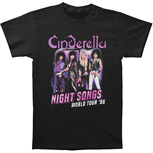 Cinderella Rock Band Night Songs Tour Black 2-Sided Adult T-Shirt Tee, Black, X-Large ()