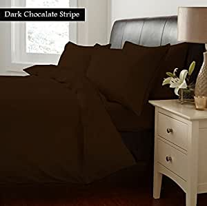 "100% Egyptian Cotton Fitted Sheet With 21"" Deep Pocket 400 Thread Count Stripe Queen , Chocolate Created By Linen Delux"