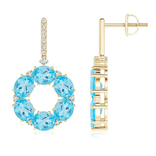 Oval Swiss Blue Topaz Circle Dangle Earrings with Diamonds in 14K Yellow Gold (5x4mm Swiss Blue Topaz)
