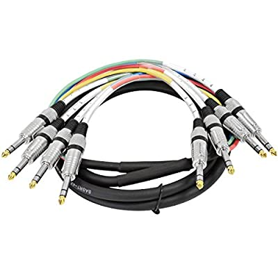 """4 Channel 1/4"""" TRS Snake Cable - 10 Feet Long - Serviceable Ends - Pro Audio Effects Snake for Live Live, Recording, Studios, and Gigs - Patch, Amp, Mixer, Audio Interface 10' by Seismic Audio Speakers, Inc."""