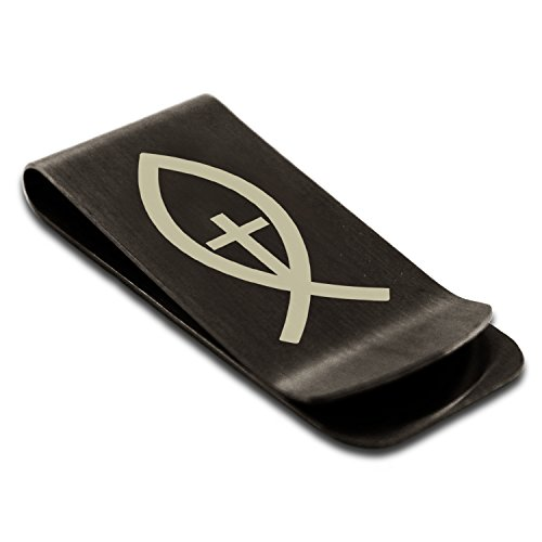 - Matte Black Stainless Steel Vertical Ichthus Cross Fish Symbol Engraved Money Clip Credit Card Holder