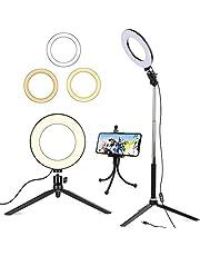 """6""""Ringlicht mit Stativ für Selfie/Makeup Live Stream und YouTube Video Dimmbare LED-Kamera mit 3 Lichtmodi und 11 Helligkeitsstufe und mit Handyhalter"""