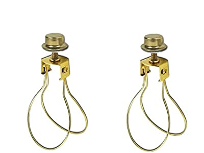 Upgradelights 2 Lamp Shade Bulb Clip Adapters (Clip on with Shade Attaching Finials)