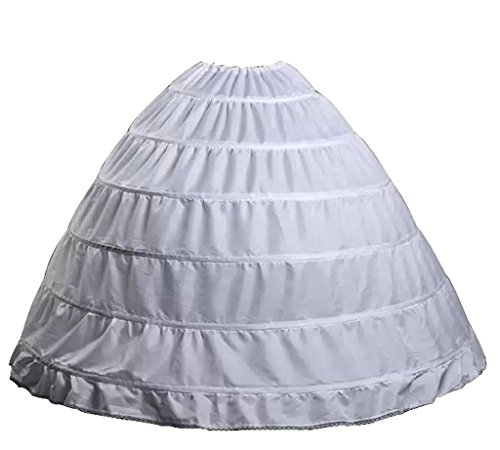 Wantdo Drawstring Wedding Bridal Petticoat 6 Hoops Larges Full White, One Size
