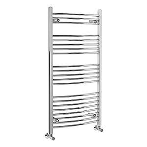 Curved Bathroom Heated Warmer Towel Rail Ladder Radiator Rad Central Heating – 1150 x 600 mm – Chrome