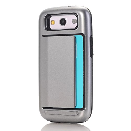 (Galaxy S3 Case,ARSUE Dual Layer Protective Shell Shockproof Card Slot Holder Rubber Bumper Hybrid Case Cover for Samsung Galaxy S3 III i9300 - Grey)
