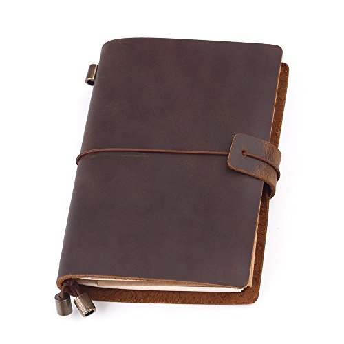 Travel Jounal, Handmade Vintage Leather Notebook Refillable, Antique Soft Leather, Gift for Men & Women, Perfect to write in, Travelers Journal, Small Leather Notebook, 5.1 × 4.1 Inches, Brown